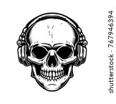 skull with headphones design... | Shutterstock .eps vector #767946394