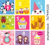 happy birthday card design with ... | Shutterstock . vector #767949220