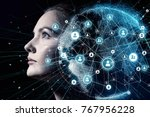 global communication network... | Shutterstock . vector #767956228