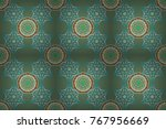 seamless pattern in blue and... | Shutterstock . vector #767956669