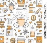 seamless pattern of coffee ...   Shutterstock .eps vector #767957344