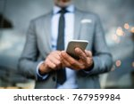 businessman with smartphone in... | Shutterstock . vector #767959984