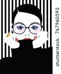 fashion woman in style pop art. ... | Shutterstock .eps vector #767960593
