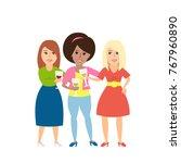 beautiful women toasting wih... | Shutterstock .eps vector #767960890
