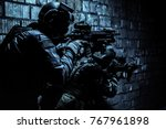pair of soldiers in action...   Shutterstock . vector #767961898