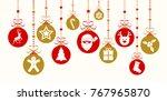 decorative christmas ornaments... | Shutterstock .eps vector #767965870