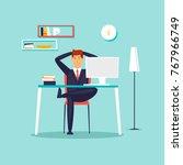 happy businessman working in... | Shutterstock .eps vector #767966749