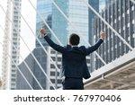 happy business man open arm... | Shutterstock . vector #767970406