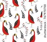 folk seamless pattern.... | Shutterstock .eps vector #767970700