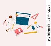 designer workplace top view.... | Shutterstock .eps vector #767972284