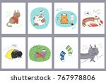 set of hand drawn greeting... | Shutterstock .eps vector #767978806