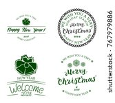 set of four badges new year... | Shutterstock .eps vector #767979886