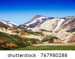 colorful mountains on... | Shutterstock . vector #767980288