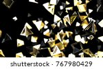 abstract golden pyramid... | Shutterstock . vector #767980429