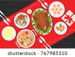 christmas food on the table ... | Shutterstock .eps vector #767985310