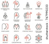 vector set of linear icons... | Shutterstock .eps vector #767990233