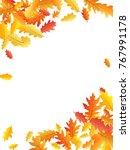 corners of colorful oak leaf... | Shutterstock . vector #767991178