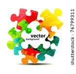 Stock vector abstract puzzle shape colorful vector design 76799311
