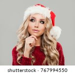 cute christmas woman in santa... | Shutterstock . vector #767994550