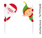 elf and santa claus holding a...   Shutterstock .eps vector #767995648