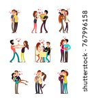 happy family couples in love.... | Shutterstock .eps vector #767996158