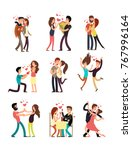 happy young couples in love ... | Shutterstock .eps vector #767996164