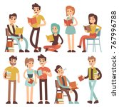 students reading books. young... | Shutterstock .eps vector #767996788