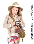 young girl with a camera... | Shutterstock . vector #767999908