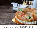 roscon de reyes  kings' ring...   Shutterstock . vector #768001714