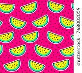 cosmic crazy watermelon... | Shutterstock .eps vector #768002059