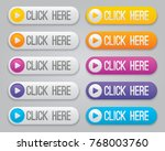 click here vector buttons... | Shutterstock .eps vector #768003760