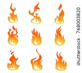 cartoon fire flames vector set. ... | Shutterstock .eps vector #768003820