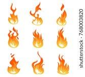 Cartoon Fire Flames Vector Set...