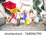 multiethnic group of girls... | Shutterstock . vector #768006790