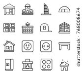 thin line icon set   warehouse  ... | Shutterstock .eps vector #768008674