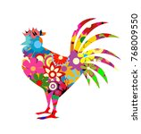 red rooster on white background | Shutterstock .eps vector #768009550