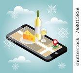 isometric food delivering.... | Shutterstock .eps vector #768015826
