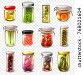 set of canned goods including... | Shutterstock .eps vector #768021604