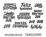 merry christmas  feliz navidad  ... | Shutterstock .eps vector #768023980
