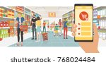 grocery shopping app on a... | Shutterstock .eps vector #768024484