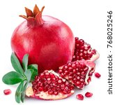 ripe pomegranate fruits with... | Shutterstock . vector #768025246