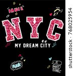 typography slogan with patches... | Shutterstock .eps vector #768025954