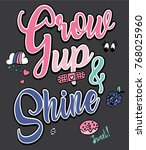 typography slogan with patches... | Shutterstock .eps vector #768025960