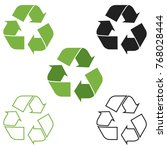 recycle symbol icon set of 5... | Shutterstock .eps vector #768028444