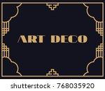 art deco frame. vintage linear... | Shutterstock .eps vector #768035920