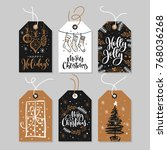 christmas gift tags set with... | Shutterstock .eps vector #768036268