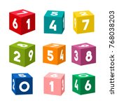 set of colorful toy bricks with ... | Shutterstock .eps vector #768038203