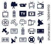set of 25 television filled and ... | Shutterstock .eps vector #768044950