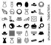 set of 36 elegant filled and... | Shutterstock .eps vector #768047854