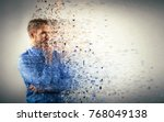 young businessman dispersing... | Shutterstock . vector #768049138